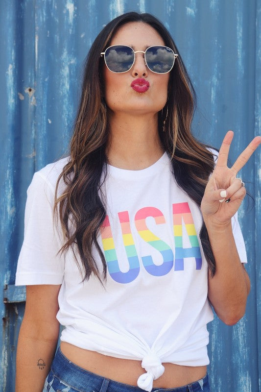 USA Rainbow Graphic Tee