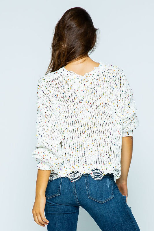 CHENILLE DESTROYED CROP SWEATER WITH SPECKLES