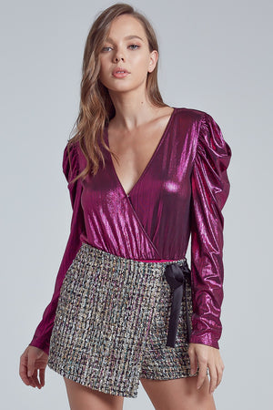 METALLIC PUFF SLEEVE WRAPPED BODYSUIT