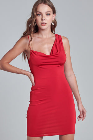 COWL NECK SLEEVELESS BODYCON DRESS