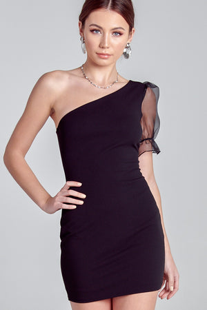 PUFF SLEEVE ONE SHOULDER BODYCON DRESS (pre order 11/21)