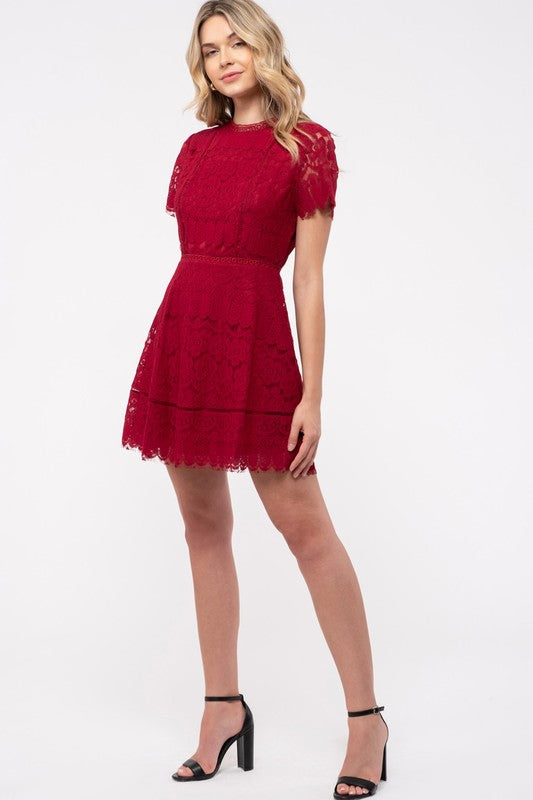 Red Lace Dress With Scallop Trim