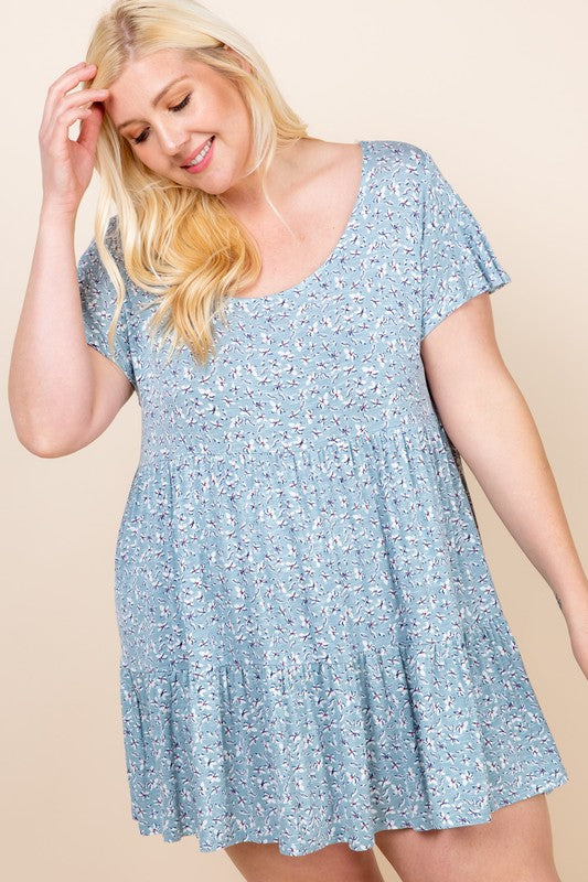 Plus Size Floral Babydoll Dress with Scoopneck