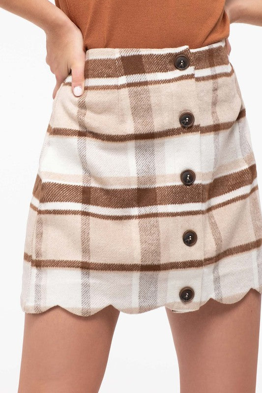 Khaki TARTAN CHECK BUTTON DOWN MINI SKIRT