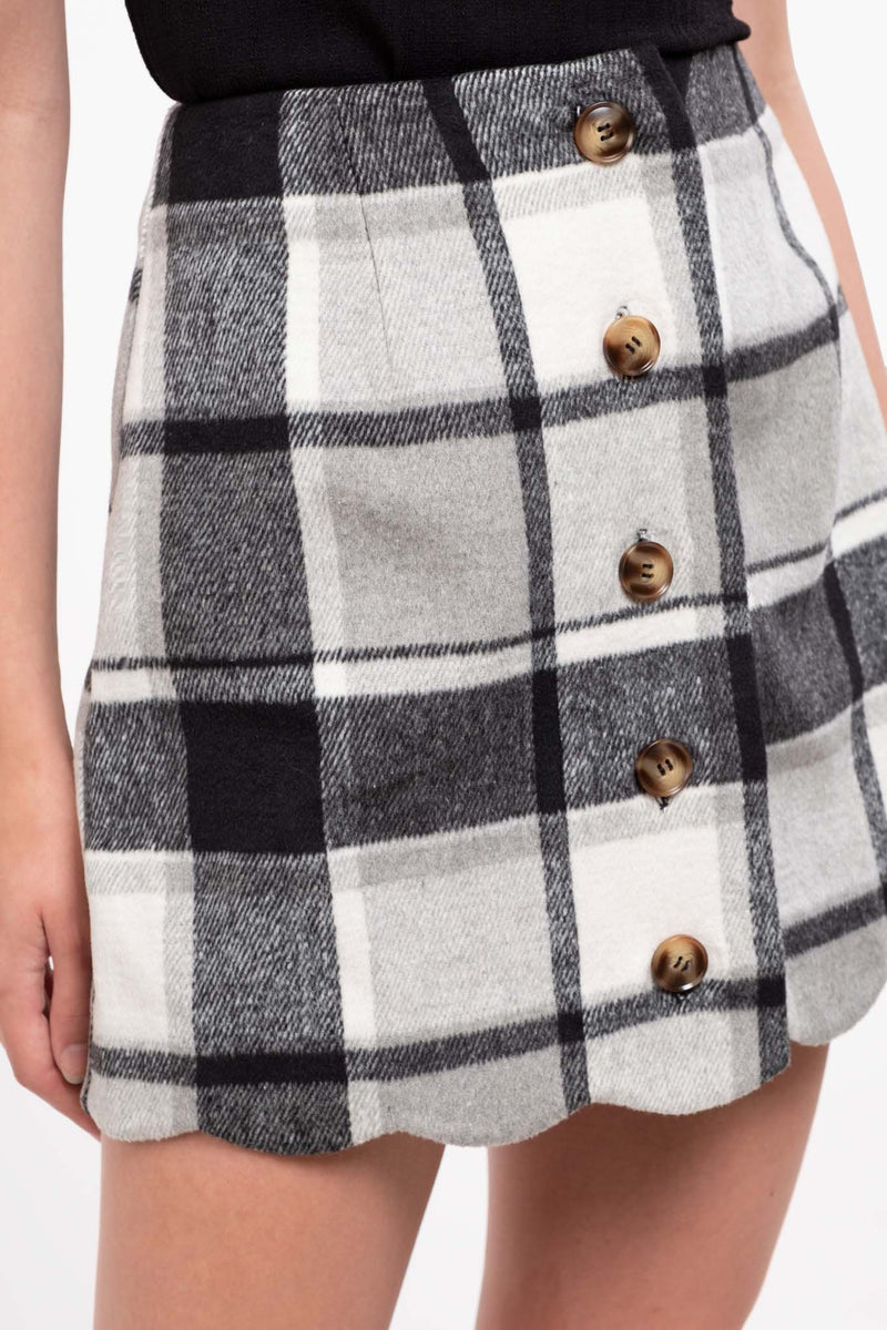 TARTAN CHECK BUTTON DOWN MINI SKIRT