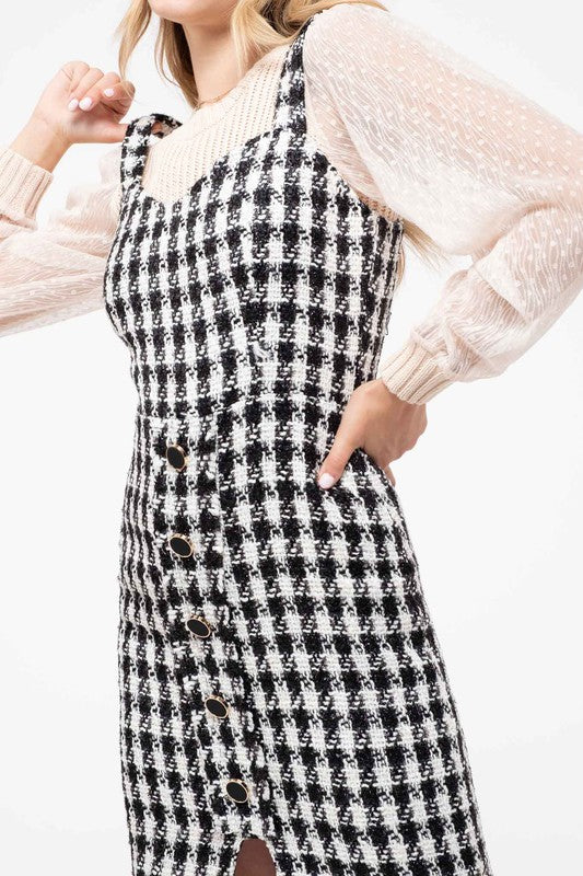 Sleeveless Tweed Button Front Dress