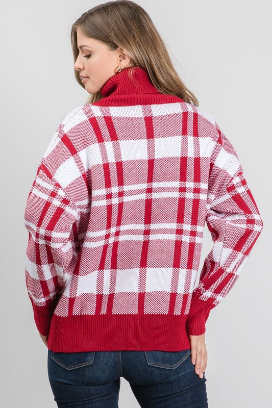 RED PLAID TURTLENECK PULLOVER SWEATER