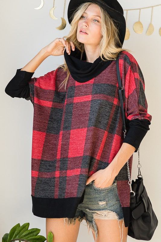 COWL NECK PLAID LOOSE FIT TOP