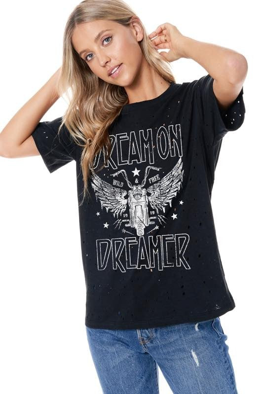 Best Seller!!! Dream On Dreamer Distressed Graphic Tee