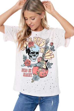 ROCK AND ROLL WILD AT HEART GRAPHIC DISTRESSED TOP