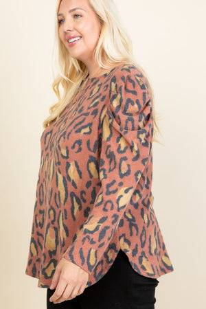 Rust Plus Size Animal Print Puff Sleeves Top