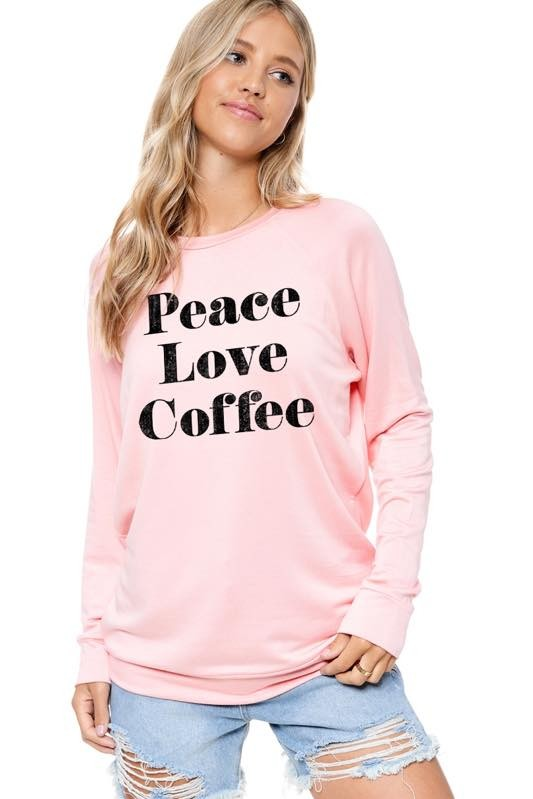 Best Seller!!! Peace Love Coffee  Long Sleeve Graphic Tee