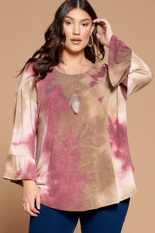 Plus Size Tie Dye Open Back Bell Sleeve Top