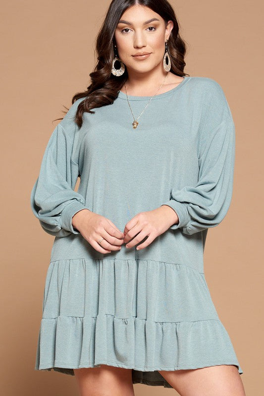 Sage Plus Size Solid French Terry Ruffle Tunic Dress
