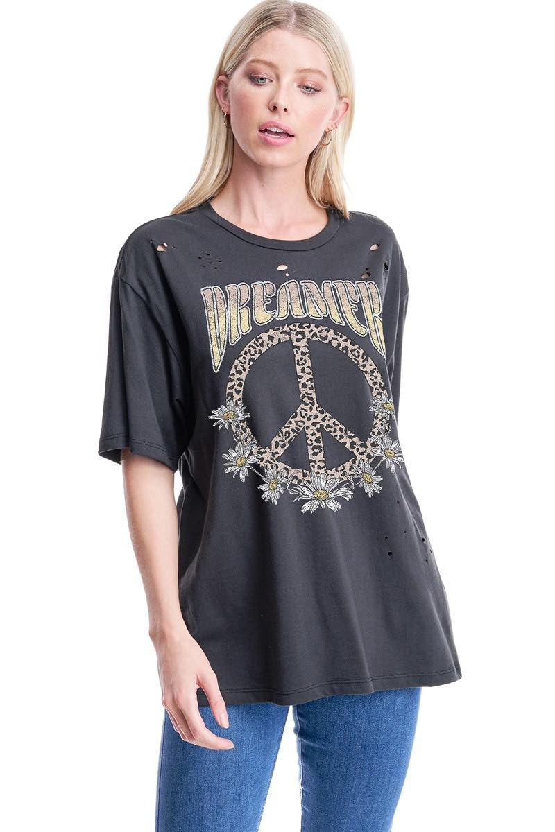DREAMER PEACE SIGN DISTRESSED GRAPHIC TOP