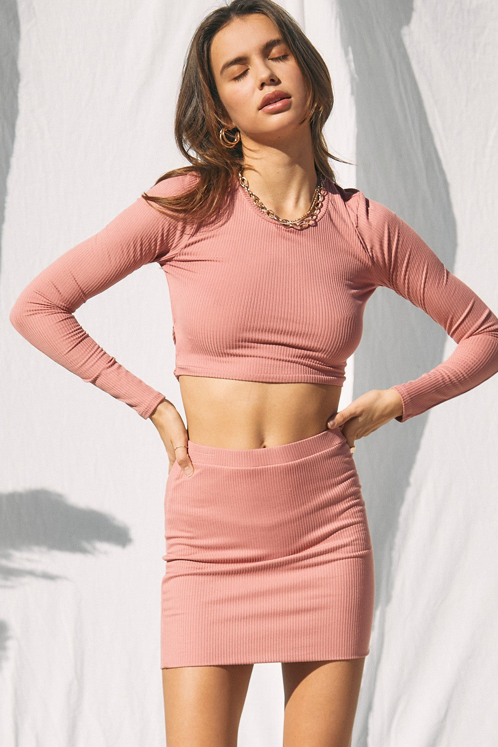 Solid Ribbed Crop Top And Mini Skirt (sold separately)