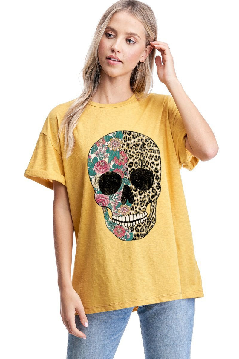 LEOPARD AND FLOWER SKULL GRAPHIC TOP (pre order 1/21)