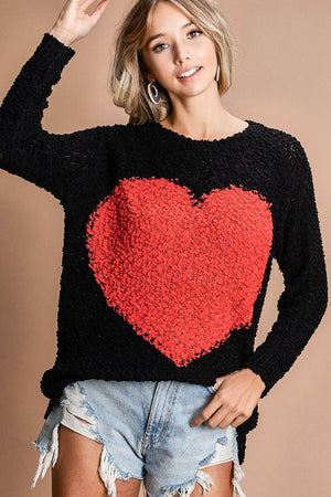 Soft Popcorn Sweater With Large Heart