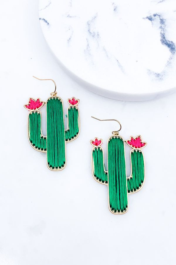 THREADED CACTUS STATEMENT EARRINGS