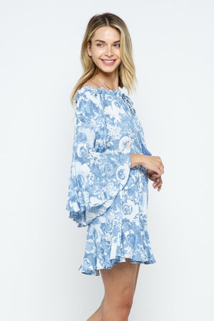 Boho Print Off Shoulder Ruffle Detail Romper