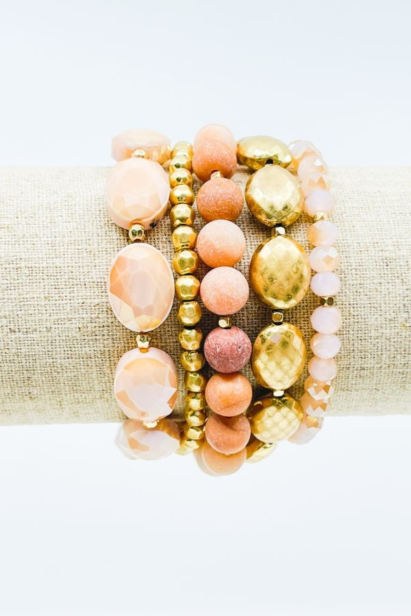 Pink 5 STRANDED MIX BRACELET SET