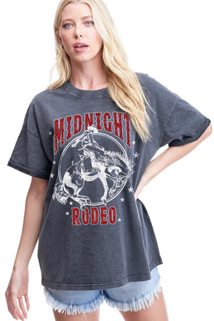 MIDNIGHT RODEO GLITTER GRAPHIC TEE