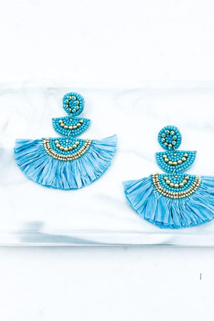 TURQUOISE RAFFIA SEEDBEAD EARRINGS