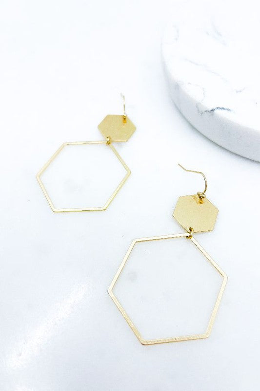 HEXAGON DROP EARRINGS