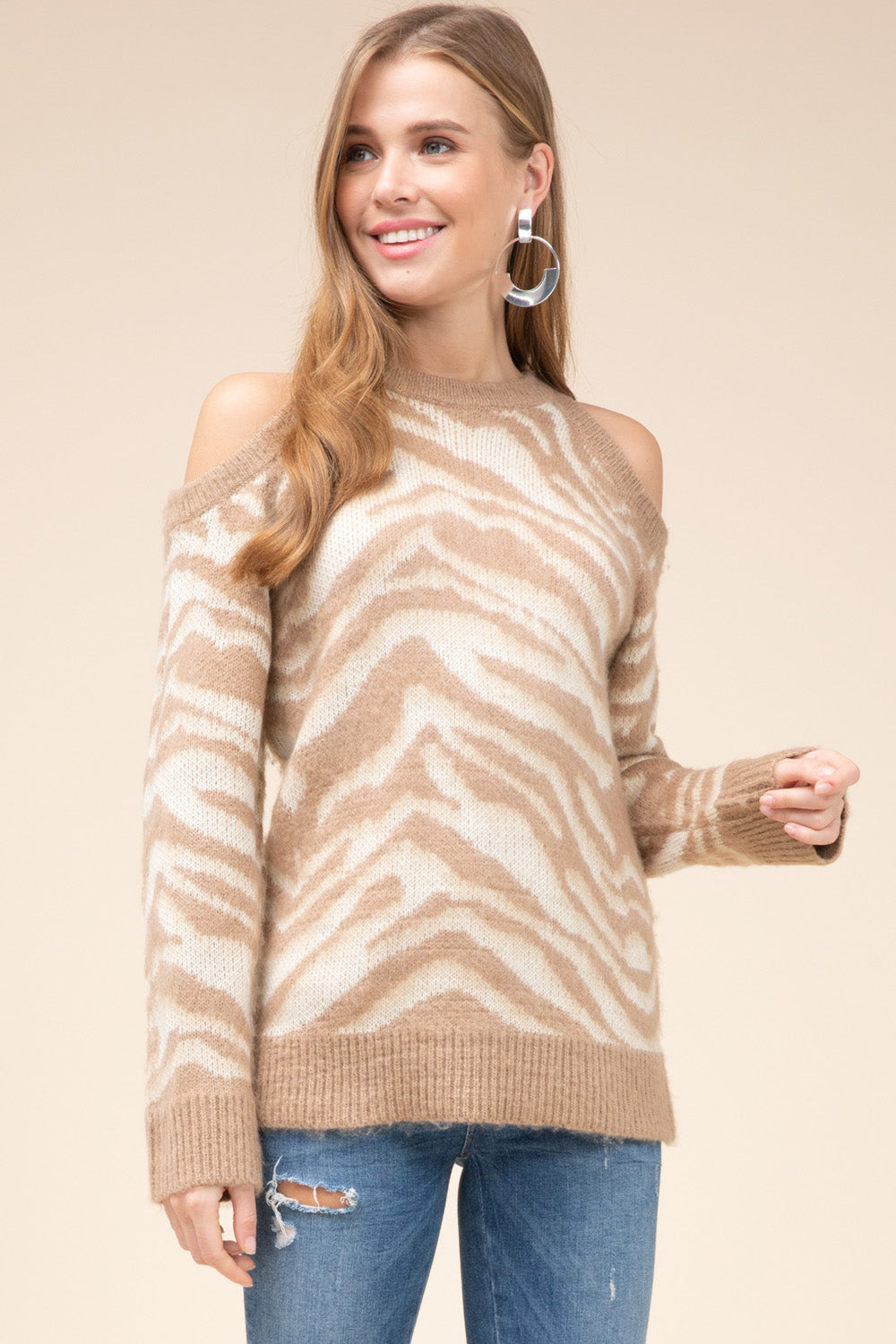 Almond Zebra faux mohair sweater top