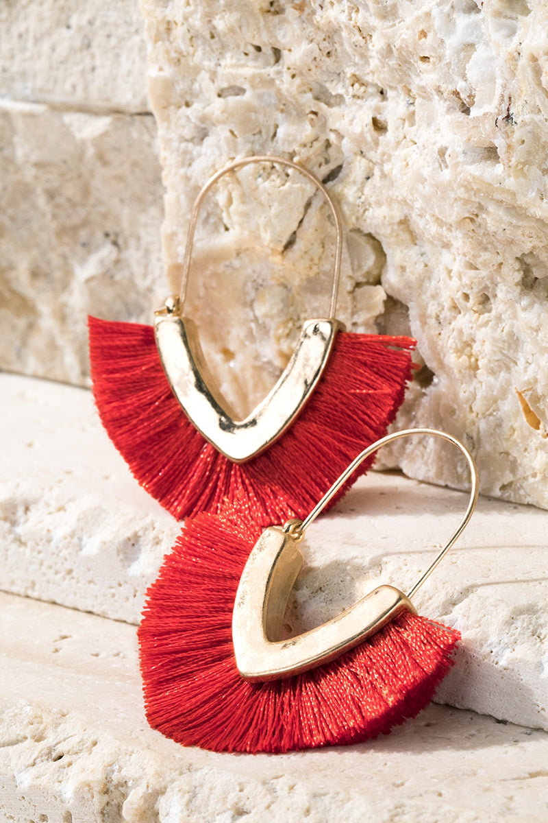 Red V-Shape Tassel Earrings