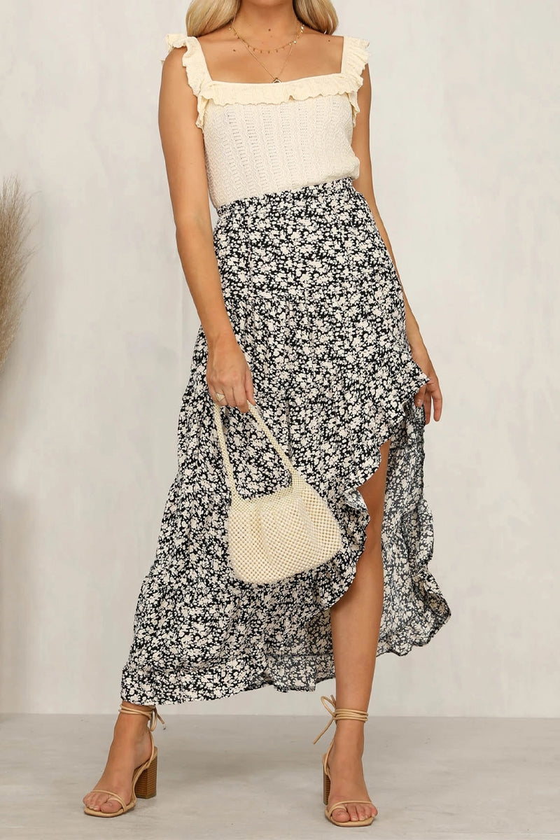 Best Seller!!! Black Floral Ruffled Maxi Skirt 6/30