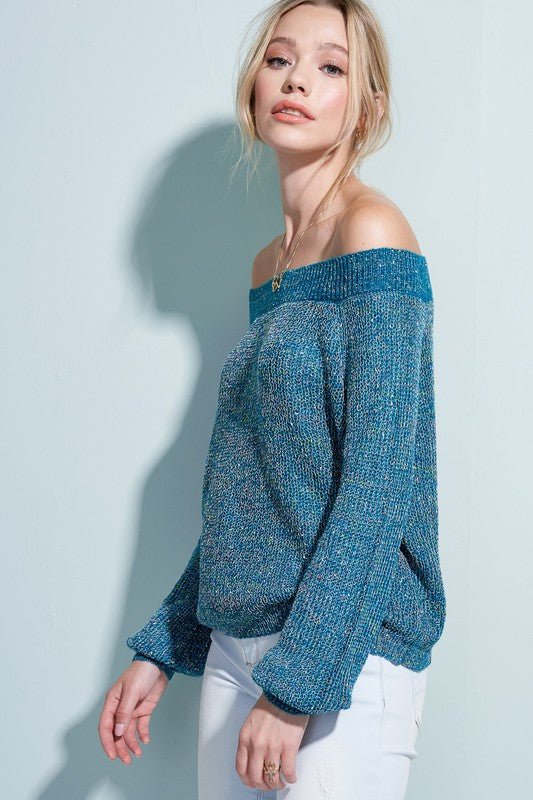 Teal Off-The-Shoulder Light Weight Sweater
