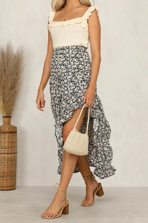 Best Seller!!! Black Floral Ruffled Maxi Skirt (pre order 5/1)