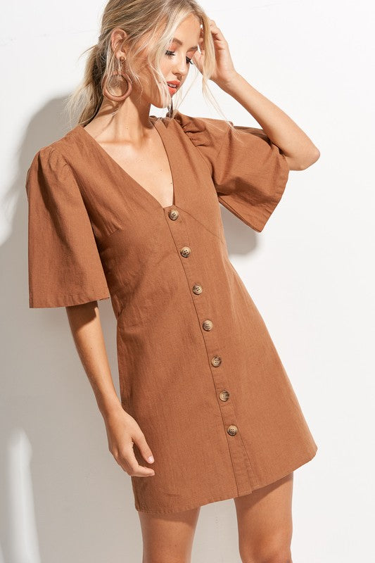 vintage style linen mini dress