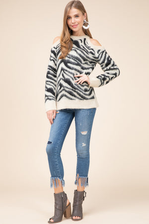 Ivory Zebra faux mohair sweater top