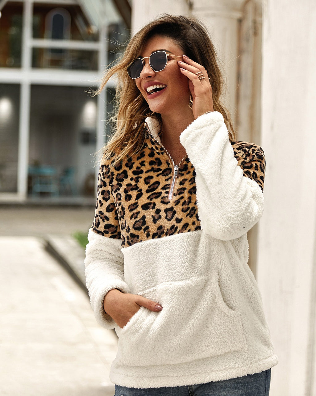 White Leopard Print Sherpa Pullover