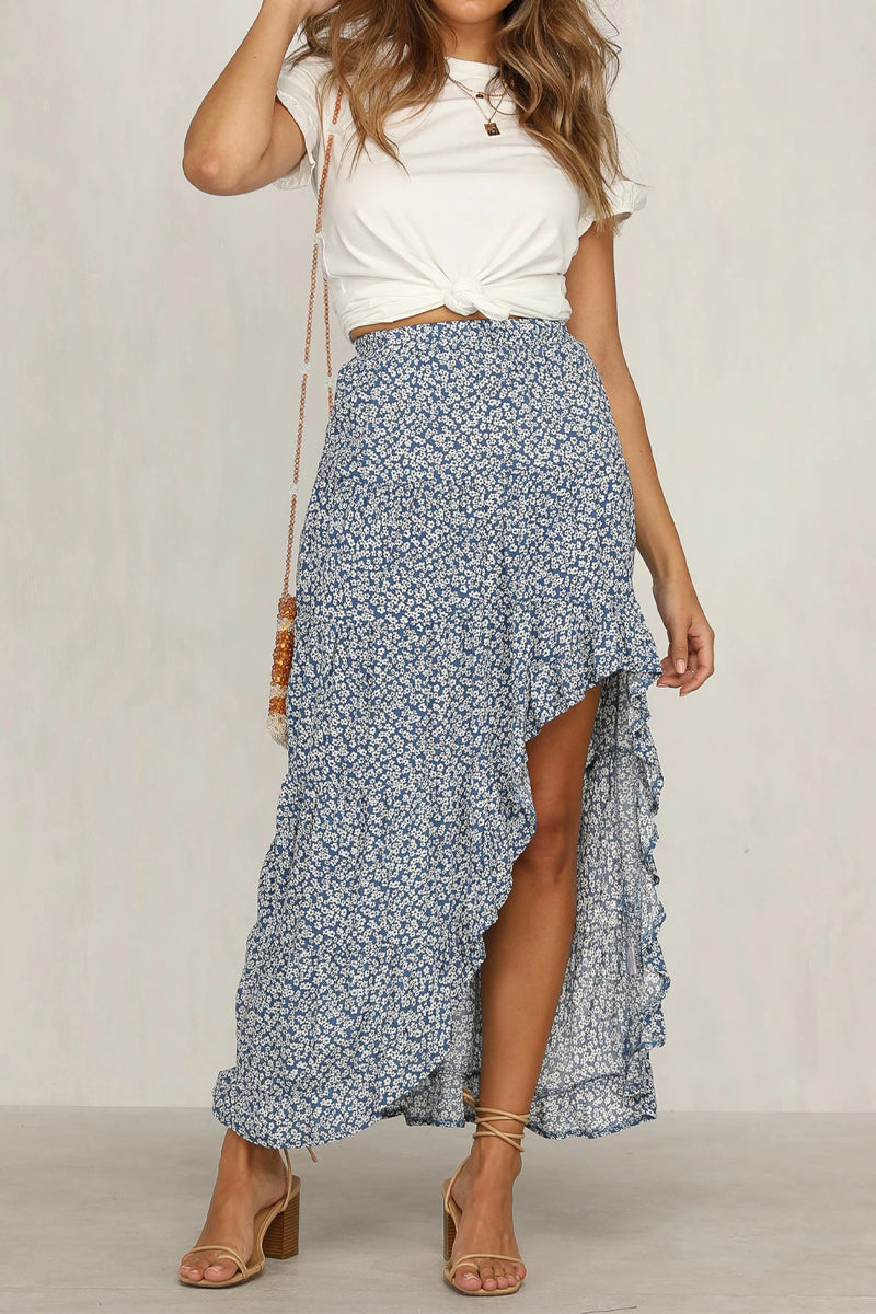 Best Seller!!! Blue Floral Ruffled Maxi Skirt 6/15