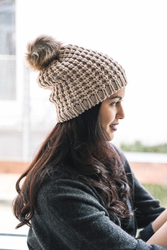 Mocha Textured Beanie with Pom Pom