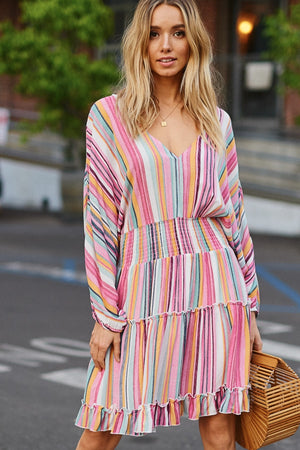 multi colored stripe midi dress