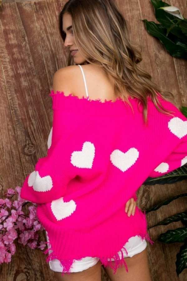 Pink Heart Distressed Sweater