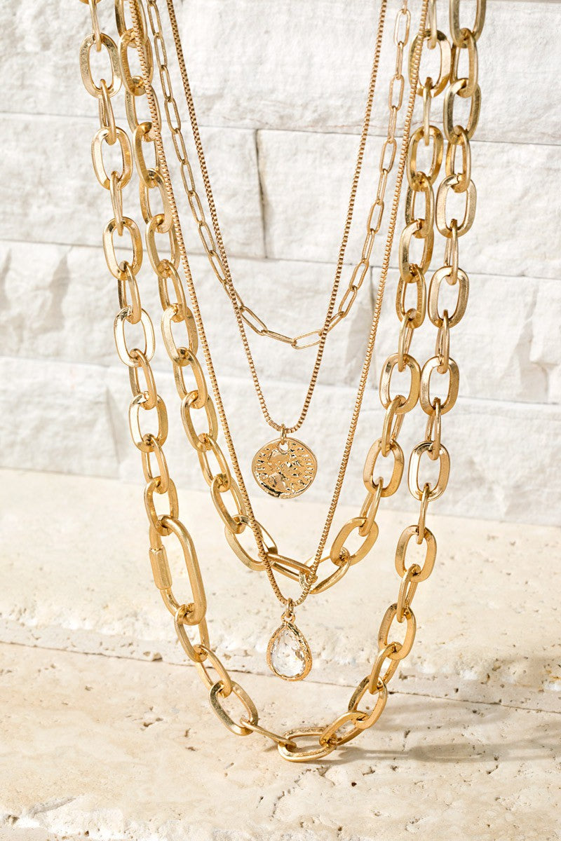 Gold Bold Mixed Chain Layered Necklace