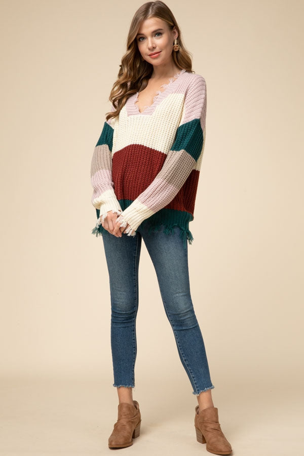 Rust Color-block Sweater