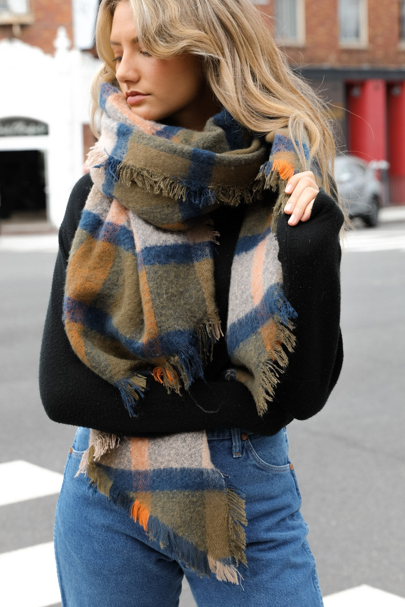 Oversized Chunky Plaid Asymmetrical Scarf