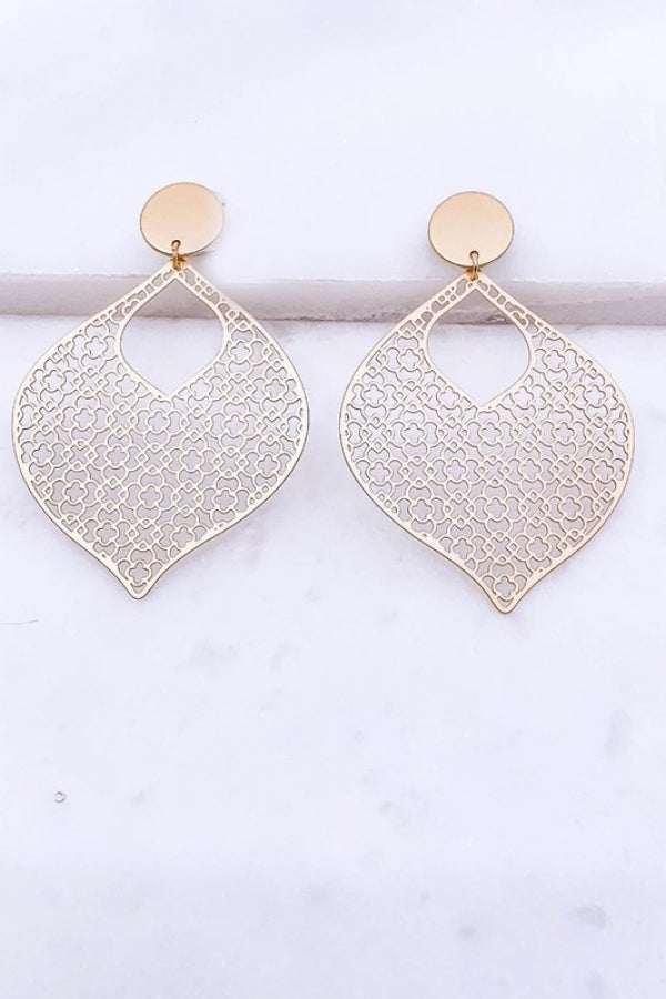Gold Filigree Brass Post Drop Earrings