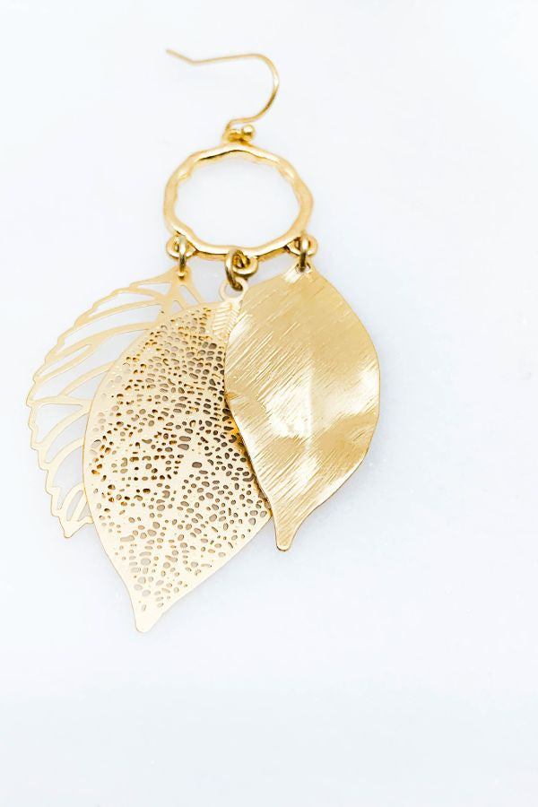 Multi Leaf Pendant Earrings