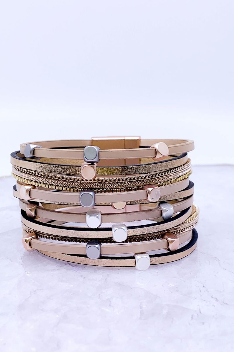 Mixed Metal Multi Strand Magnetic Bracelets