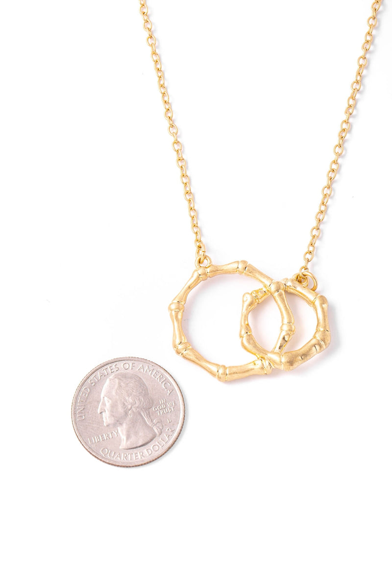 Gold Bamboo Hoop Link Charm Necklace