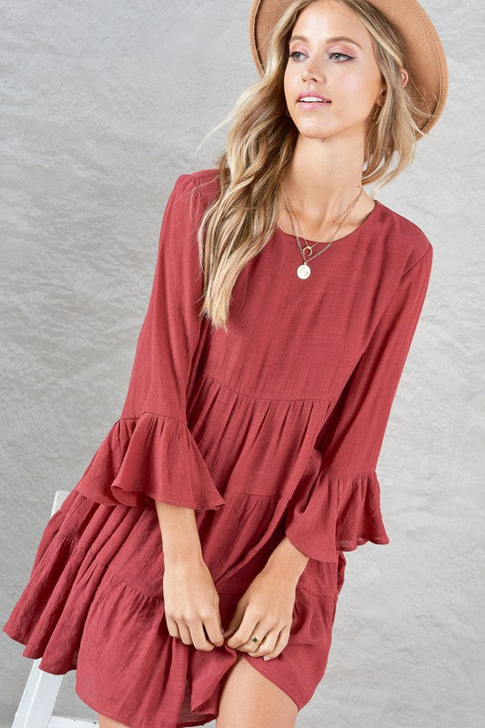 BEST SELLER!!! Marsala Riverside Tier Dress