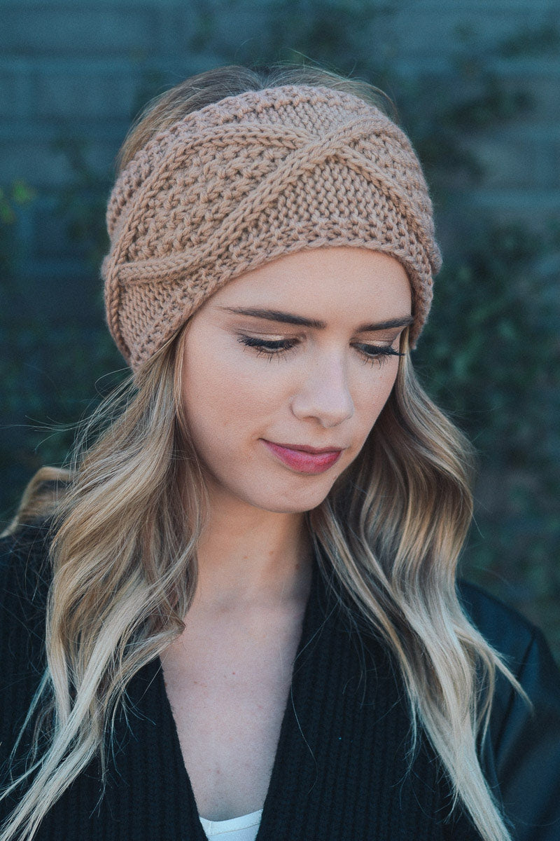 Mocha Diamond Stitch Headwrap