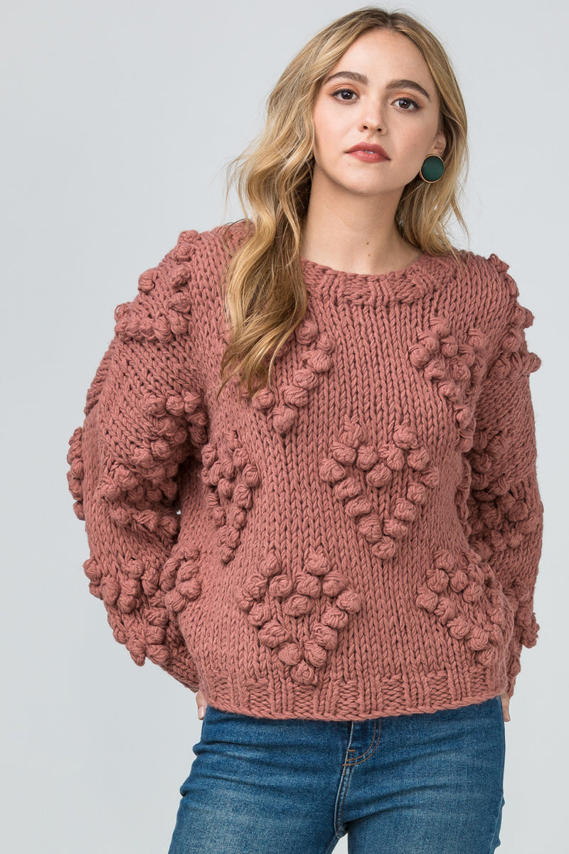 Mauve Pom-pom knit sweater
